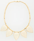 Luxury Accessories:Accessories, Lanvin Gold & Cream Enamel Necklace. ...