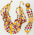 Luxury Accessories:Accessories, Miriam Haskell Yellow & Red Beaded Jewelry Suite. ...