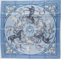 "Luxury Accessories:Accessories, Hermes Blue & Gray ""La Ronde des Jockeys,"" by Francoise de laPerriere Silk Scarf. ..."