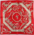 "Luxury Accessories:Accessories, Hermes Red & Cream ""Ecole Potugaise D'Art Equestre,"" byPhilippe Dumas Silk Scarf. ..."