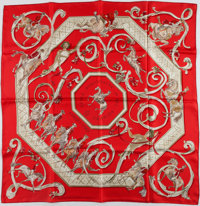"""Hermes Red & Cream """"Ecole Potugaise D'Art Equestre,"""" by Philippe Dumas Silk Scarf"""