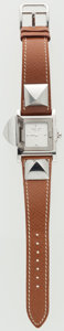 Luxury Accessories:Accessories, Hermes Gold Courchevel Leather & Stainless Steel Medor PMWatch. ...