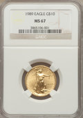 Modern Bullion Coins: , 1989 G$10 Quarter-Ounce Gold Eagle MS67 NGC. NGC Census: (4/1701). PCGS Population (9/1430). Mintage: 81,789. Numismedia Ws...