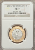 Modern Issues: , 2000-W $10 Library of Congress Bimetallic Ten Dollars MS69 NGC. NGCCensus: (429/878). PCGS Population (1479/438). Numisme...