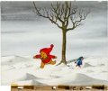 Animation Art:Production Cel, Winnie the Pooh Discovers the Seasons Pooh and PigletProduction Cel Setup and Master Background (Walt Disney, 1981)....