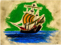 Animation Art:Concept Art, Peter Pan The Jolly Roger Concept Drawing (Walt Disney,1953)....