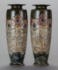 Ceramics & Porcelain, British:Modern  (1900 1949)  , A PAIR OF ENGLISH ART NOUVEAU-STYLE POTTERY VASES, Royal Doulton,Lambeth, England, 20th century. Marks: L. DOULTON, ENGLA...(Total: 2 Items)