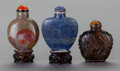 Asian:Chinese, THREE CHINESE STONE SNUFF BOTTLES. 2-1/2 inches high (6.4 cm)(lapis bottle). ... (Total: 3 Items)