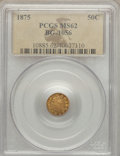 California Fractional Gold: , 1875 50C Indian Round 50 Cents, BG-1056, High R.4, MS62 PCGS. PCGSPopulation (14/27). NGC Census: (1/0). ...