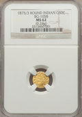 California Fractional Gold: , 1875/3 50C Indian Round 50 Cents, BG-1058, R.3, MS62 NGC. (0.24g).NGC Census: (4/5). PCGS Population (44/58). ...
