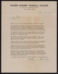 Baseball Collectibles:Others, 1939 Rogers Hornsby Signed Letter....