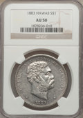 Coins of Hawaii: , 1883 $1 Hawaii Dollar AU50 NGC. NGC Census: (28/179). PCGS Population (64/199). Mintage: 500,000. . From The Cathedral We...