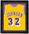 Basketball Collectibles:Uniforms, Magic Johnson Signed Jersey....