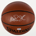 Basketball Collectibles:Balls, Magic Johnson Signed Basketball and Bill Walton Signed Card....