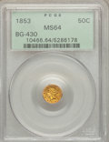 California Fractional Gold: , 1853 50C Liberty Round 50 Cents, BG-430, R.3, MS64 PCGS. PCGSPopulation (18/7). NGC Census: (4/2). ...