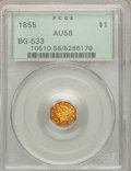California Fractional Gold: , 1855 $1 Liberty Octagonal 1 Dollar, BG-533, Low R.4, AU58 PCGS.PCGS Population (32/32). NGC Census: (6/9). ...