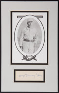 "Autographs:Index Cards, Signed William E. ""Dummy"" Hoy Index Card and Photo Display. ..."