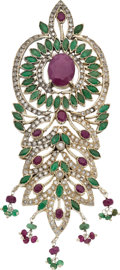 Estate Jewelry:Lockets - Pendants , RUBY, EMERALD, CLEAR STONE, GUNMETAL PENDANT. ...