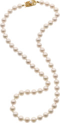 Estate Jewelry:Necklace, CULTURED PEARL, GOLD NECKLACE. ...