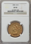 Liberty Eagles: , 1850 $10 Large Date XF45 NGC. NGC Census: (70/239). PCGS Population(53/91). Mintage: 291,451. Numismedia Wsl. Price for pr...