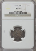 Bust Dimes: , 1820 10C Large 0 AU55 NGC. NGC Census: (12/171). PCGS Population(14/88). Mintage: 942,587. Numismedia Wsl. Price for probl...
