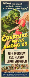 "Movie Posters:Horror, The Creature Walks Among Us (Universal International, 1956).Autographed Insert (14"" X 36"").. ..."