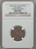 Civil War Patriotics, 1864 Union For Ever MS65 NGC. Fuld-51/342Aa. Cancelled reversedie....