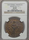 Betts Medals, 1739 Admiral Vernon Medal AU58 NGC. Betts-247, Adams-Chao-NLa-1-A,R.5....
