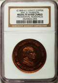 U.S. Presidents & Statesmen, (circa 1860-61) William H. Harrison, Presidential Residences PR64Red and Brown Cameo NGC. Lovett Series, Copper....