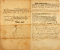 Books:World History, Land Indenture. Dated January 22, 1822. Between Jeremiah and Esther Hisbee and Andicio Adams. Signed by all applicable parti...