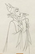 Animation Art:Production Drawing, Sleeping Beauty Maleficent and Diablo Production Drawing (Walt Disney, 1959)....