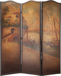 A VENETIAN PAINTED THREE PANEL SCREEN, 19th century 70 inches high x 60 inches wide (177.8 x 152.4 cm)