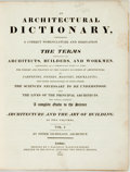 Books:Reference & Bibliography, [Dictionary]. Peter Nicholson. An Architectural Dictionary.London: J. Barfield, 1819. Two thick quarto volumes. Mar... (Total:2 Items)