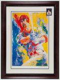 Baseball Collectibles:Others, Mark McGwire Signed Card and LeRoy Neiman Signed LithographDisplay....