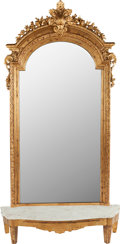 Decorative Arts, French:Other , A LOUIS XVI-STYLE GILT WOOD MIRROR, circa 1900. 94 inches high(238.8 cm). ... (Total: 2 Items)
