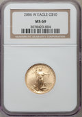 Modern Bullion Coins, 2006-W $10 Quarter-Ounce Gold Eagle MS69 NGC. NGC Census:(3982/4408). PCGS Population (4684/1279). Numismedia Wsl. Price ...