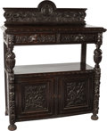 Furniture , A JACOBEAN-STYLE CARVED WOOD CABINET, 19th century. 56-1/2 x 48 x 21-1/2 inches (143.5 x 121.9 x 54.6 cm). ...