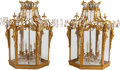 Decorative Arts, French:Lamps & Lighting, A PAIR OF GILT BRONZE AND CUT GLASS SIX-LIGHT LANTERNS, 20thcentury. 34 x 22 x 22 inches (86.4 x 55.9 x 55.9 cm). ... (Total: 2Items)