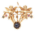 Estate Jewelry:Brooches - Pins, Cultured Pearl, Seed Pearl, Ruby, Sapphire, Enamel, Gold Pendant-Brooch. ...