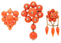 Estate Jewelry:Brooches - Pins, Group of Antique Coral Gold Jewelry. ... (Total: 3 Items)