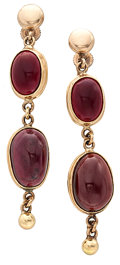 Estate Jewelry:Earrings, Garnet, Gold Earrings. ...