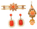 Estate Jewelry:Lots, Group of Antique Coral, Gold Jewelry. ... (Total: 3 Items)
