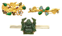 Jadeite, Nephrite Jade, Opal, Cultured Pearl, Glass, Gold Brooches