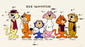 animation art:Model Sheet, Top Cat Cast Size Comparison/Color Model Cel (Hanna-Barbera, c. 1970s)....
