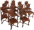 Decorative Arts, Continental:Other , A SET OF TWELVE CONTINENTAL GOTHIC REVIVAL SIDE CHAIRS WITH INSETLEATHER UPHOLSTERY, circa 1875. 40 x 18 x 18 inches (101.6...(Total: 12 Items)