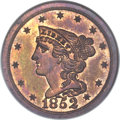 Proof Braided Hair Half Cents, 1852 1/2 C First Restrike, Small Berries PR66 Red and Brown NGC. B-2, R.5. Our EAC Grade PR64. ...