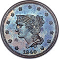 Proof Large Cents, 1840 1C Small Over Large 18 PR65 Brown NGC. N-2, R.6 as a Proof.Our EAC Grade PR60. ...
