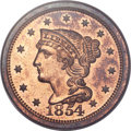 Proof Large Cents, 1854 1C PR65 Red and Brown PCGS. CAC. N-12, R.6 as a Proof. Our EACGrade PR63. ...