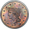Proof Large Cents, 1843 1C Petite Head, Small Letters PR66 Red and Brown NGC. N-14,High R.6. Our EAC Grade PR63. ...