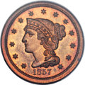 Proof Large Cents, 1857 1C PR65 Red and Brown PCGS. CAC. N-5, High R.5. Our EAC GradePR65....